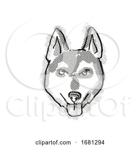 Alaskan Klee Kai Dog Breed Cartoon Retro Drawing by patrimonio