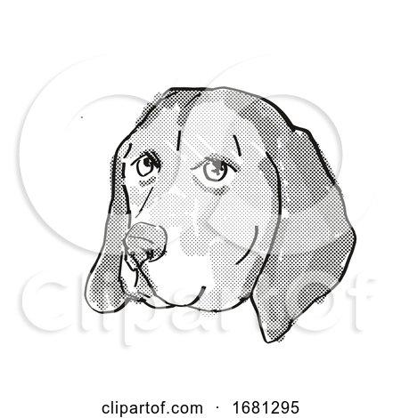 American English Coonhound Dog Breed Cartoon Retro Drawing by patrimonio