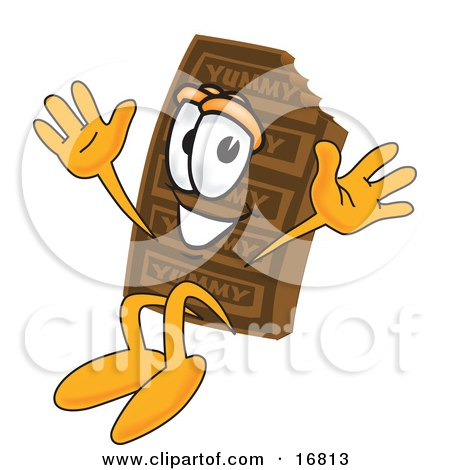 Clipart Picture of a Chocolate Candy Bar Mascot Cartoon Character Jumping by Toons4Biz