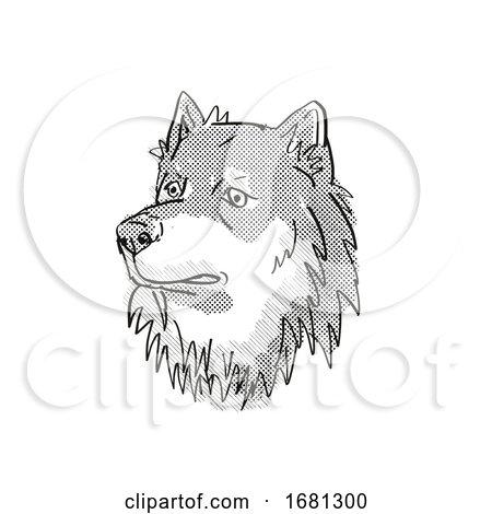 Finnish Lapphund Dog Breed Cartoon Retro Drawing by patrimonio