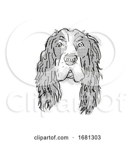 English Cocker Spaniel Dog Breed Cartoon Retro Drawing by patrimonio