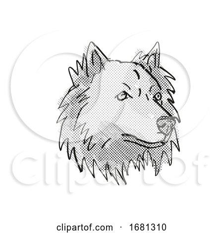 Chusky Mixed Breed Dog Breed Cartoon Retro Drawing by patrimonio