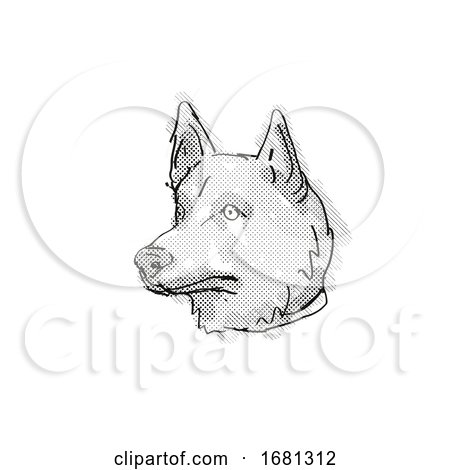 Corgi Inu Mixed Breed Dog Breed Cartoon Retro Drawing by patrimonio