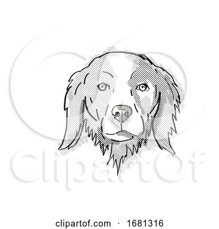 Brittany or Brittany Spaniel Dog Breed Cartoon Retro Drawing by patrimonio