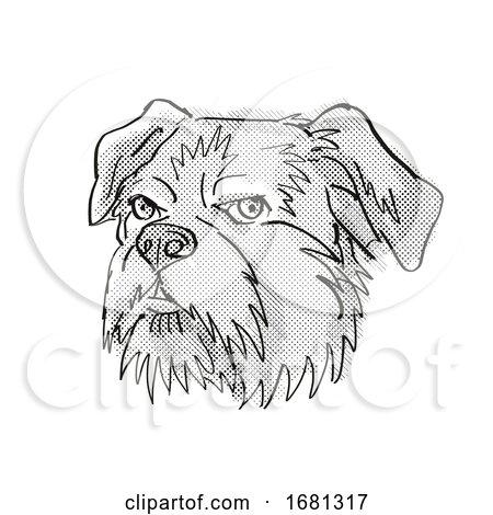 Brussels Griffon Dog Breed Cartoon Retro Drawing by patrimonio