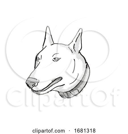 Bull Terrier Dog Breed Cartoon Retro Drawing by patrimonio