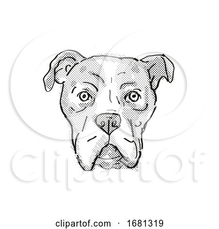Bullboxer Pit or American Bullboxer Dog Breed Cartoon Retro Drawing by patrimonio