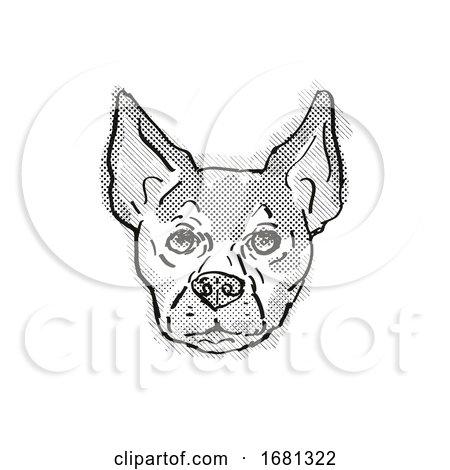 Chihuahua Dog Breed Cartoon Retro Drawing by patrimonio