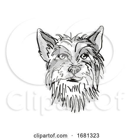 Chinese Crested Dog Breed Cartoon Retro Drawing by patrimonio