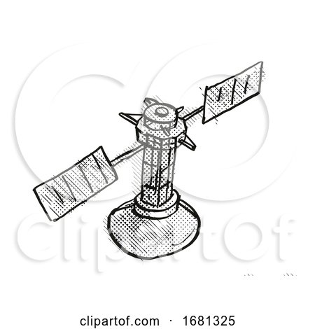 Vintage Spaceprobe or Satellite Cartoon Retro Drawing by patrimonio