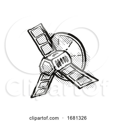 Vintage Spaceprobe or Satellite Cartoon Retro Drawing by patrimonio
