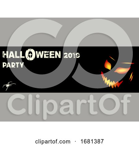 Halloween Party Black Banner with Evil Face and Text by elaineitalia