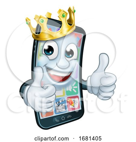 Mobile Phone King Crown Thumbs up Cartoon Mascot by AtStockIllustration