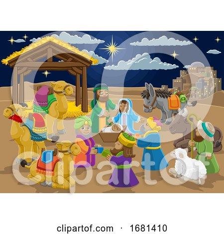 Nativity Christmas Scene Cartoon Posters, Art Prints