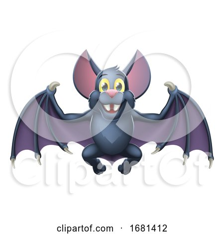 Bat Cute Halloween Vampire Animal Cartoon by AtStockIllustration