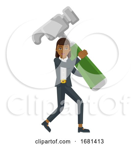 Asian Business Woman Holding Hammer Mascot Concept by AtStockIllustration