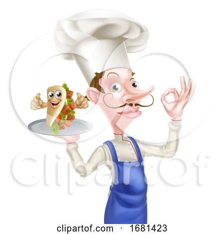 Cartoon Kebab Chef by AtStockIllustration
