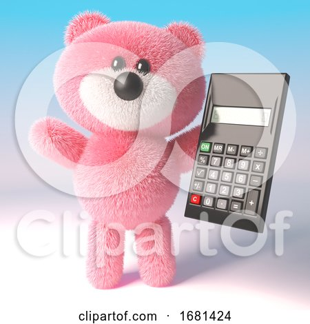 Cute Cartoon 3d Fluffy Pink Teddy Bear Soft Toy Holding a Digital Calculator, 3d Illustration by Steve Young