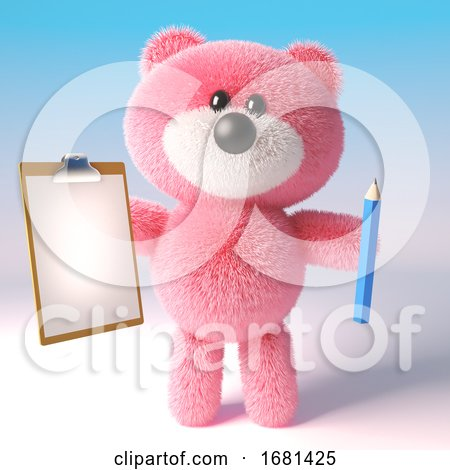 Cartoon Cute 3d Pink Fluffy Teddy Bear Soft Toy Holding a Pencil and Clipboard, 3d Illustration by Steve Young