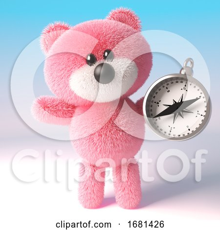 Cartoon Cute 3d Fluffy Pink Teddy Bear Soft Toy Character Holding a Magnetic Compass, 3d Illustration by Steve Young