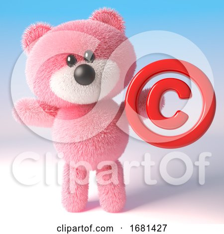 Cute Pink 3d Fluffy Teddy Bear Soft Toy Character Holding a Copyright Symbol, 3d Illustration by Steve Young