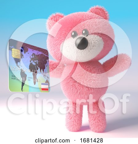 Cute Pink Fluffy 3d Teddy Bear Soft Toy Character Holding a Credit Debit Card, 3d Illustration by Steve Young