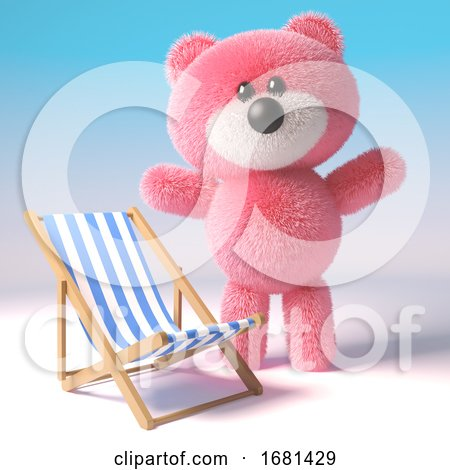 Cute 3d Pink Fluffy Teddy Bear Soft Toy Character Standing Next to a Deckchair, 3d Illustration by Steve Young
