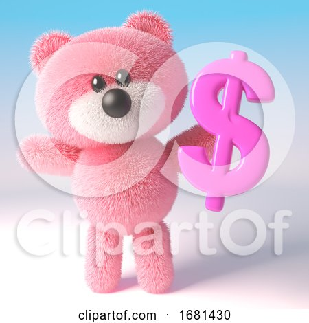 3d Cute Pink Fluffy Teddy Bear Soft Toy Character Holding a Pink US Dollar Currency Symbol, 3d Illustration by Steve Young