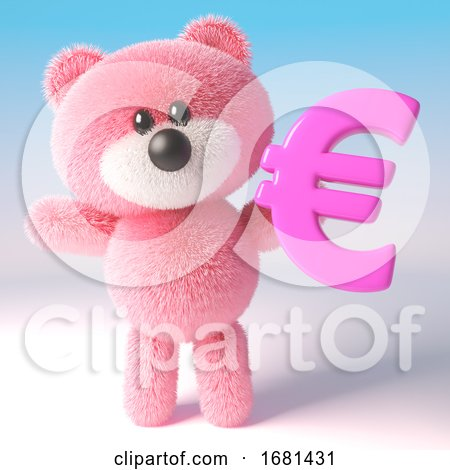 Pink Fluffy 3d Teddy Bear Soft Toy Character Holding a Pink Euro Currency Symbol, 3d Illustration by Steve Young