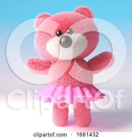 Pink Cute 3d Cartoon Teddy Bear Soft Toy Character Wearing a Pink Tutu Fairy Dress, 3d Illustration by Steve Young