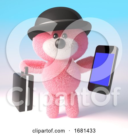 Cartoon 3d Pink Fluffy Teddy Bear Wearing a Bowler Hat and Holding a Briefcase and Smartphone Tablet Device, 3d Illustration by Steve Young