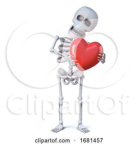 3d Skeleton Is Hugging a Red Heart Posters, Art Prints