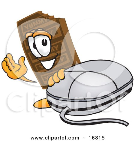 Clipart Picture of a Chocolate Candy Bar Mascot Cartoon Character With a Computer Mouse by Toons4Biz
