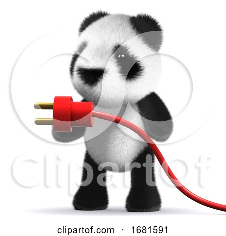 3d Baby Panda Bear with a Power Cord by Steve Young