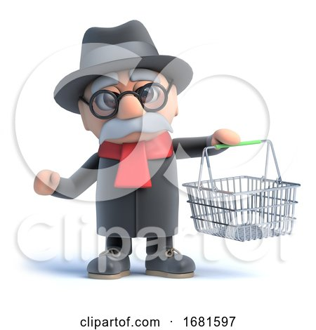 3d Old Man with Shopping Basket by Steve Young