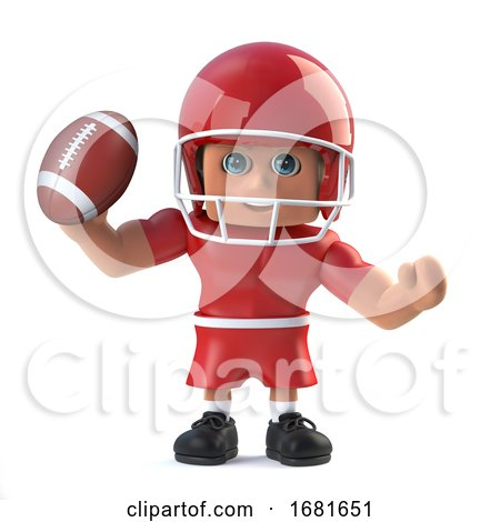 3d American Footballer Holds up a Football by Steve Young