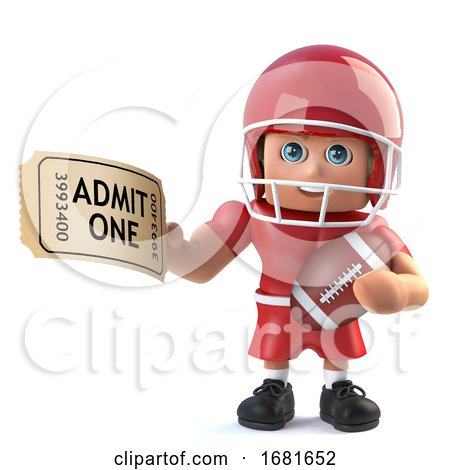 3d Funny Cartoon American Football Player Has a Ticket for Admission by Steve Young
