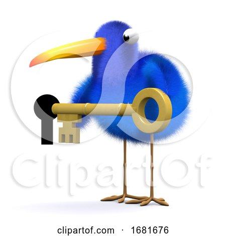 3d Blue Bird Unlocks the Door by Steve Young