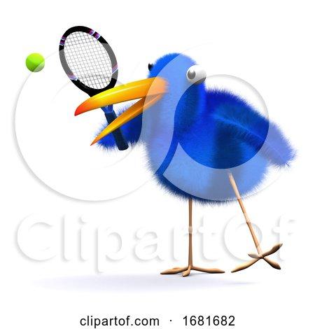 3d Blue Bird Tennis by Steve Young