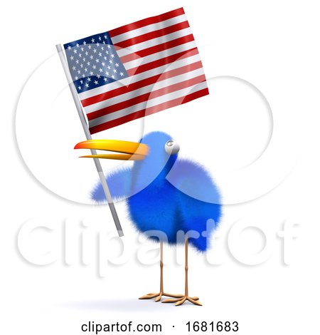 3d Blue Bird with an American Flag by Steve Young