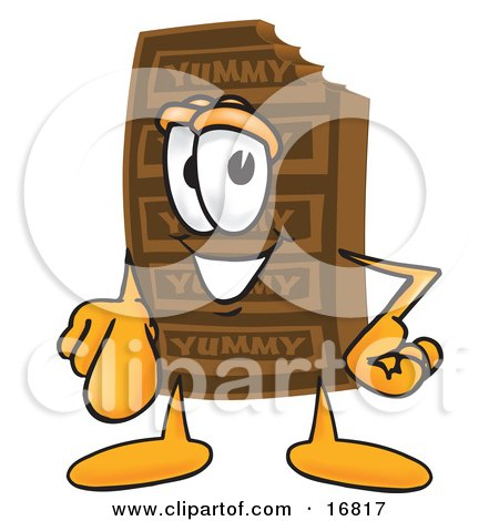 Clipart Picture of a Chocolate Candy Bar Mascot Cartoon Character Pointing at the Viewer by Toons4Biz
