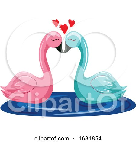 Pink and Blue Swan Kissing in the Water by Morphart Creations