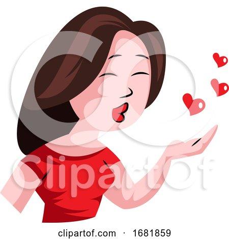 Brunette Woman Blowing Kisses Posters, Art Prints