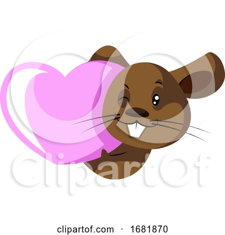 Cute Little Brow Rat with Pink Heart Posters, Art Prints