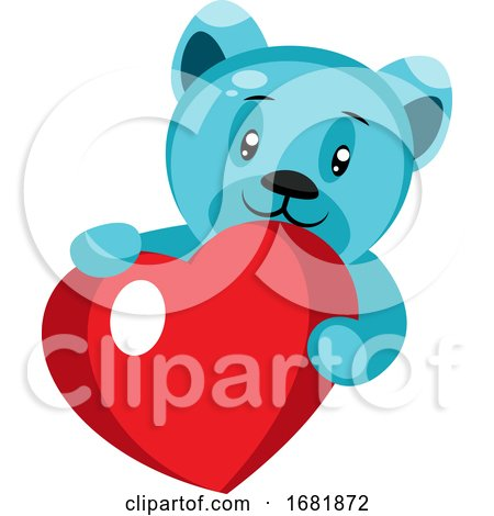 Cute Blue Bear Holding a Heart Posters, Art Prints