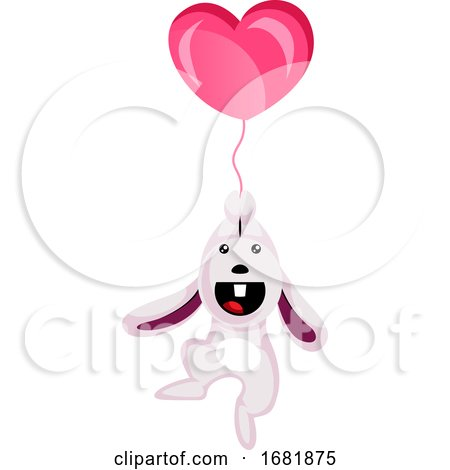 White Rabbit Holding a Heart Shaped Balloon Posters, Art Prints