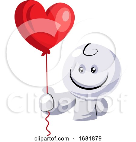White Character Holding Red Balloon Posters, Art Prints