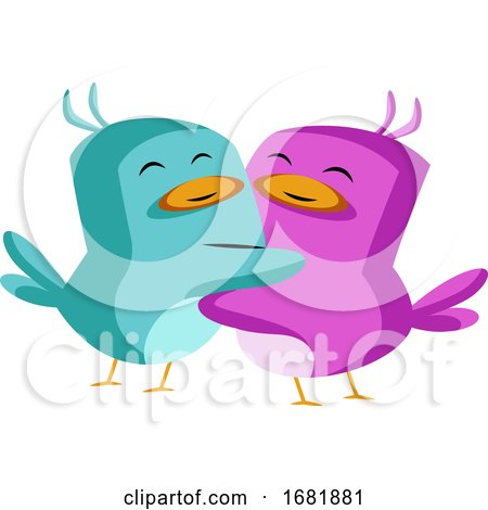 Blue and Purple Bird in Love Posters, Art Prints