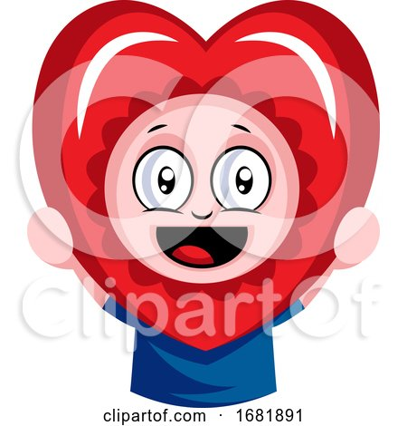 Boy Peeking Through Red Heart Posters, Art Prints