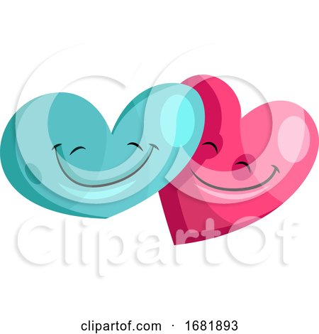 Blue and Pink Heart in Love Posters, Art Prints